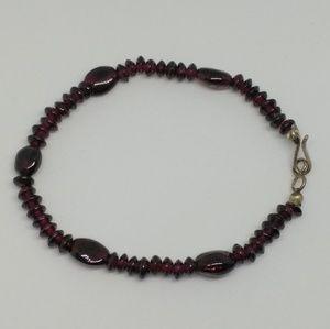 Garnet Bead Sterling Silver Bracelet